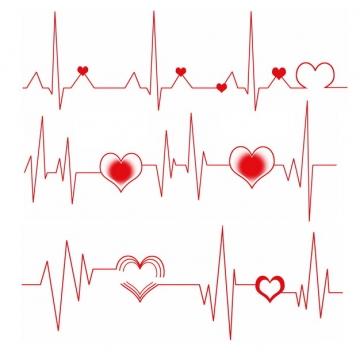 红色心电图和红心装饰406584png图片素材