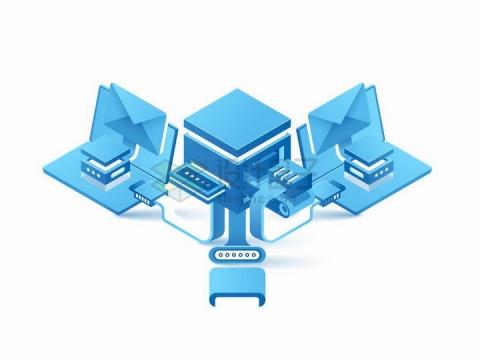 蓝色2.5D风格和云服务器连接的电脑云计算技术png图片免抠矢量素材