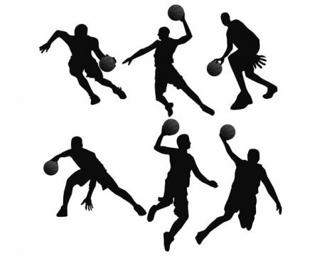 6款打篮球剪影414790AI矢量图片素材