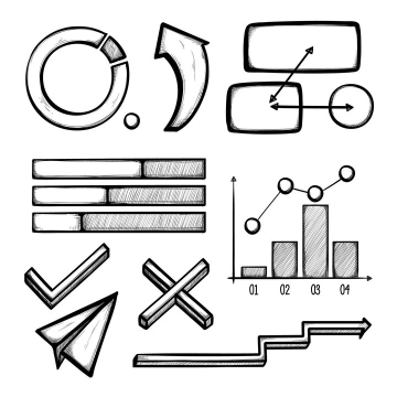 手绘素描风格百分比环形图箭头流程图柱形图对号错号纸飞机等PPT信息图表图片免抠矢量素材