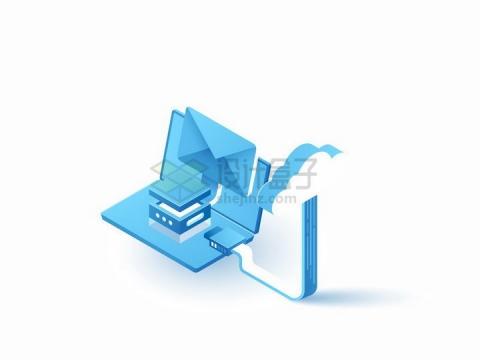 蓝色2.5D风格笔记本电脑和云计算技术服务器连接png图片免抠矢量素材