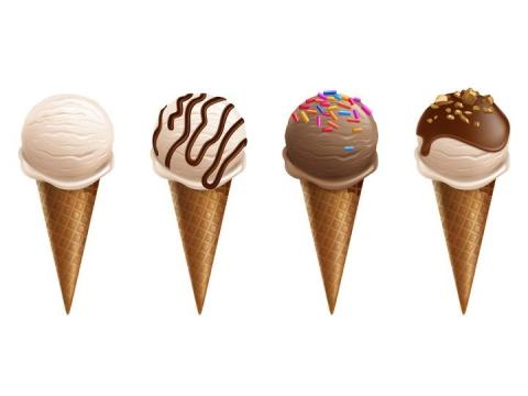 四款甜筒冰淇淋零食美食图片免抠素材