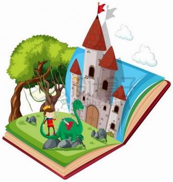 打开书本上的城堡和王子378123png矢量图片素材