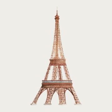 水彩画风格巴黎标志性建筑埃菲尔铁塔图片免抠素材