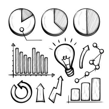手绘素描风格饼形图柱形图电灯泡箭头等PPT信息图表图片免抠矢量素材