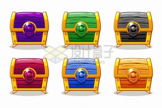6款彩色游戏宝物箱彩色黄金木箱png图片素材