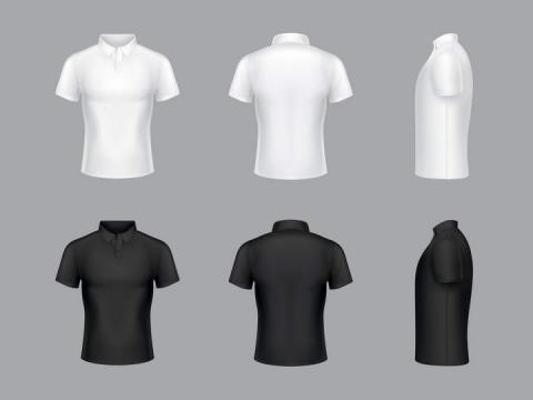 黑白色POLO衫三视图图片免抠素材