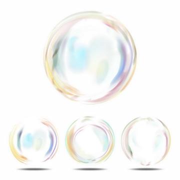 4款彩色气泡肥皂泡效果png图片免抠矢量素材