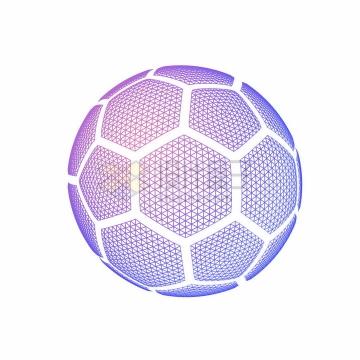 创意紫色多边形组成的足球图案png图片免抠矢量素材