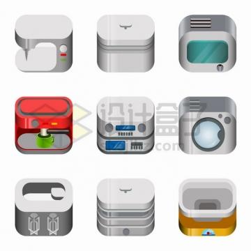 9款咖啡机微波炉电冰箱洗衣机等厨房电器图标png图片素材