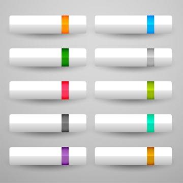 10款彩色竖条装饰半透明白色长方形按钮图片免抠矢量素材