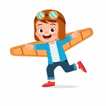 卡通小男孩插上飞机翅膀想要飞翔png图片免抠矢量素材