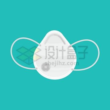 展开的带呼吸阀的N95口罩扁平插画png图片免抠矢量素材