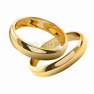 两只金光闪闪的结婚金戒指png图片素材