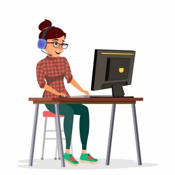 戴着耳机的卡通女孩正在操作电脑png图片免抠矢量素材