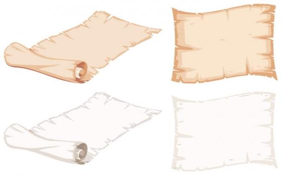 打开和卷起来的游戏卡通卷轴纸张免扣图片素材