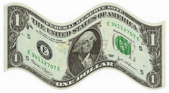 弯曲的1美元钞票纸币png图片素材
