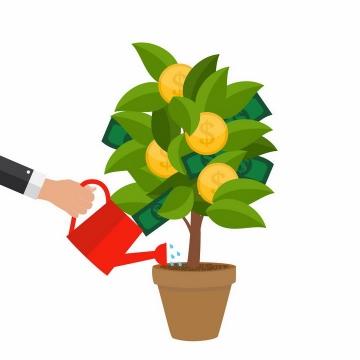 扁平化风格正在浇水的盆栽中长出金币和美元的绿植png图片免抠矢量素材