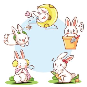 卡通可爱风格说晚安的小白兔种萝卜的小兔子等免抠图片素材