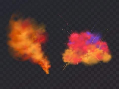 彩色烟雾粉末粉尘图片免抠素材