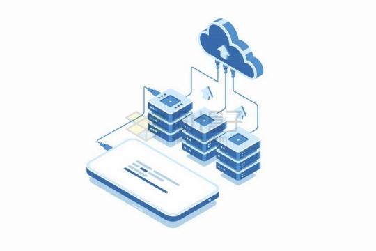 2.5D风格平板电脑和云计算存储技术连接在一起png图片免抠矢量素材