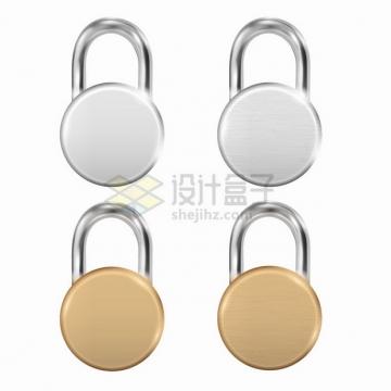 圆形银色和金色金属光泽挂锁png图片素材