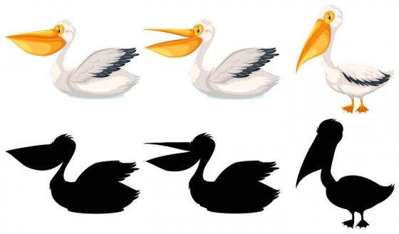 卡通鸟儿鹈鹕和剪影图案免扣图片素材