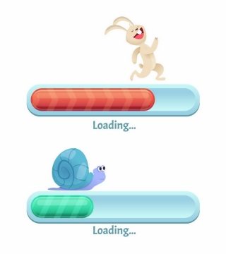 抽象卡通兔子和蜗牛象征了速度快慢的加载进度条loading界面设计png图片免抠矢量素材