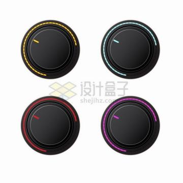 4款黑色的音乐调节旋钮3D立体按钮png图片素材