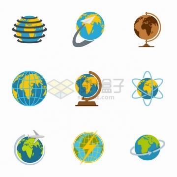 9款地球模型平面样式png图片素材
