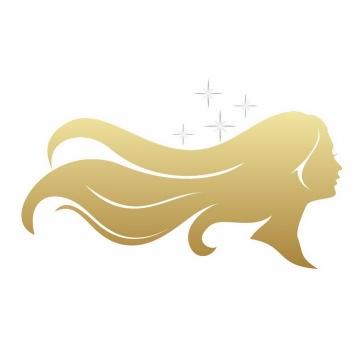 金色长发美女侧影头发美容美发logo设计方案png图片免抠矢量素材