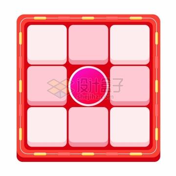 红色边框粉色微信电商九宫格翻拍抽奖界面png图片免抠矢量素材