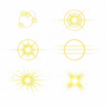 6款黄色光芒效果发光感光效果光晕装饰241161PSD免抠图片素材