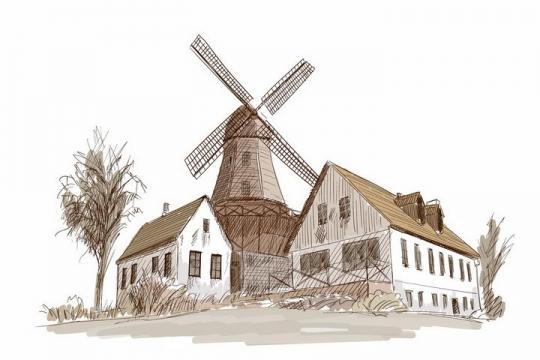 彩绘素描风格乡村大风车风景图png图片免抠矢量素材