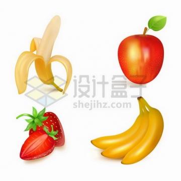 香蕉苹果和草莓美味水果png图片免抠矢量素材