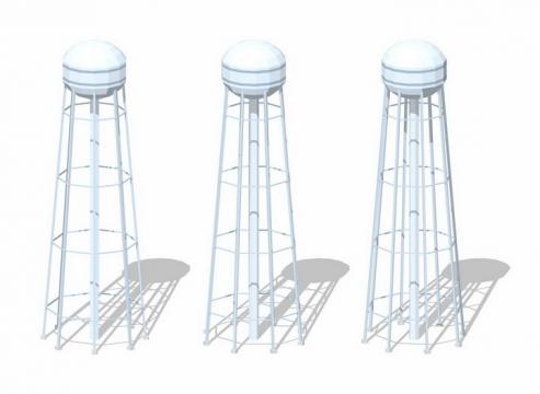 3款银白色的水塔png图片免抠矢量素材