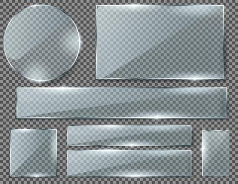 各种形状的半透明玻璃面板图片免抠素材