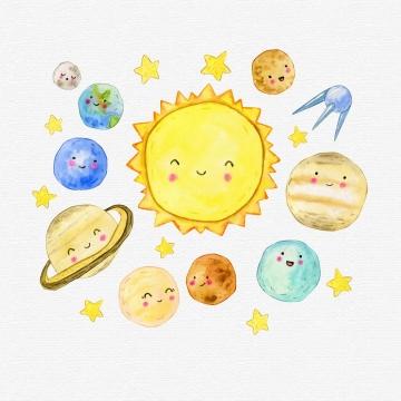 可爱彩绘风格卡通太阳系九大行星图片免抠素材