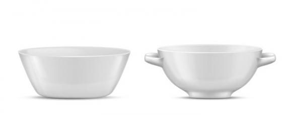 两个白色的陶瓷汤碗餐具图片免抠素材
