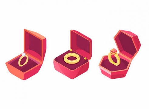三款红色戒指盒中的钻石结婚金戒指png图片免抠矢量素材