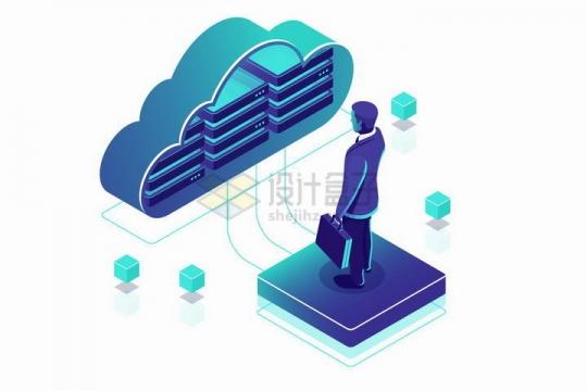 蓝色2.5D风格拎包的商务人士正在通过云计算存储器技术读取数据png图片免抠矢量素材