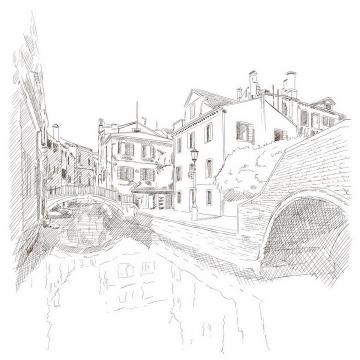 手绘素描风格威尼斯水城风景图png图片免抠矢量素材
