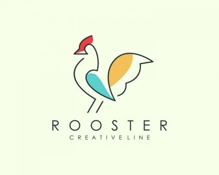 简约线条色块风格公鸡LOGO设计方案图片免抠矢量素材