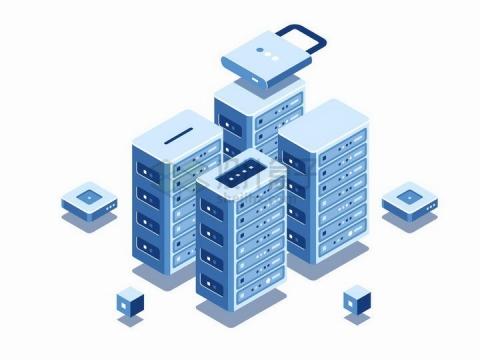 2.5D风格云计算服务器存储技术矩阵png图片免抠矢量素材