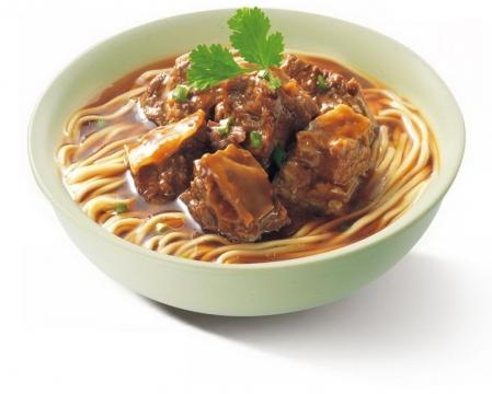 一碗美味的放香菜的红烧牛肉面美食面条png图片免抠素材