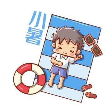 躺在气垫上的卡通男孩小暑节气插画120360png图片素材