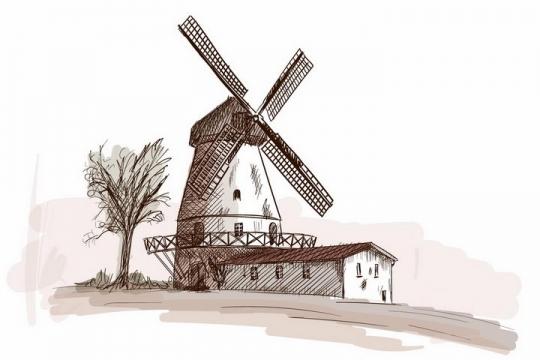 彩绘素描风格乡村农舍大树和大风车风景图png图片免抠矢量素材