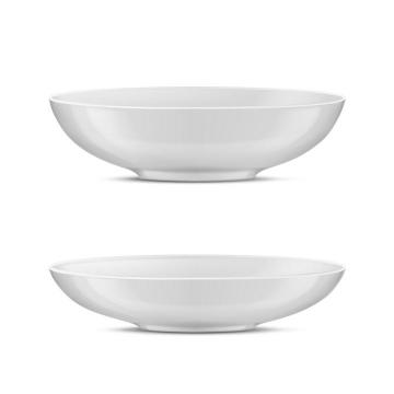 两款白色陶瓷盘子餐具图片免抠素材