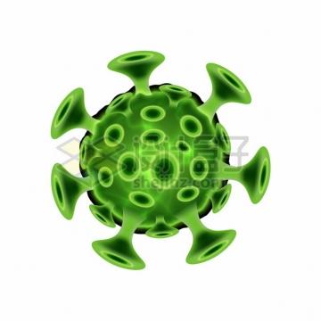 3D立体风格绿色的新型冠状病毒png图片素材