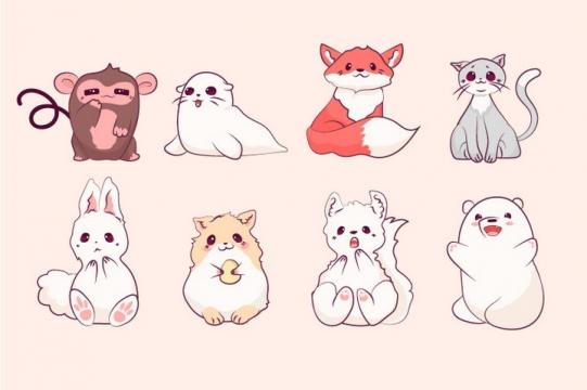 8款可爱的卡通小动物猴子海豹狐狸猫咪兔子图片免抠矢量素材